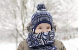 Χειμώνας πάρκων παγετού μαντίλι αγοριών Στοκ Φωτογραφία