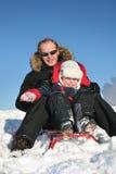 χειμώνας πατέρων παιδιών στοκ εικόνα