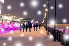 χειμώνας περπατήματος οδών ανθρώπων νύχτας τοπίων Στοκ Φωτογραφία