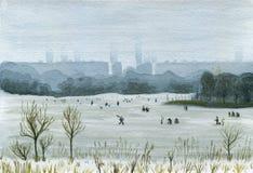 Χειμώνας που αλιεύει στην πόλη υψηλό watercolor ποιοτικής ανίχνευσης ζωγραφικής διορθώσεων πλίθας photoshop πολύ ελεύθερη απεικόνιση δικαιώματος
