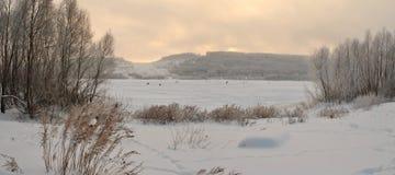 Χειμώνας που αλιεύει τον Ιανουάριο Στοκ Εικόνες