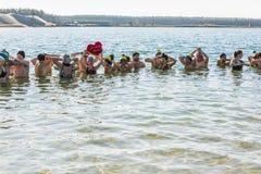 Χειμώνας που κολυμπά στο νερό Στοκ φωτογραφία με δικαίωμα ελεύθερης χρήσης
