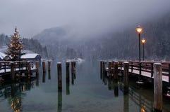 χειμώνας σκηνής λιμνών konigssee Στοκ Φωτογραφίες