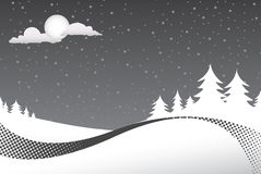 χειμώνας σκηνής νύχτας Στοκ Εικόνες