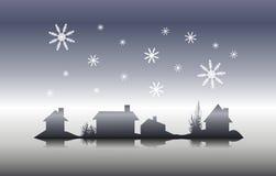χειμώνας σκιαγραφιών σπιτιών Παραμονής Χριστουγέννων απεικόνιση αποθεμάτων
