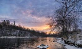 Χειμώνας στην περιοχή του Μούρμανσκ Αρχή Στοκ Εικόνα