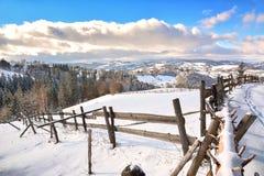 Χειμώνας στην Τρανσυλβανία Ρουμανία Στοκ Εικόνα