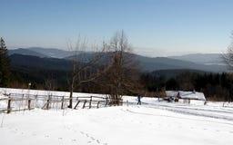 Χειμώνας στη moravian-Silesian περιοχή βουνών Στοκ Εικόνες