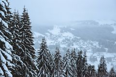 Χειμώνας στις γαλλικές Άλπεις Στοκ Φωτογραφία