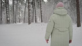 Χειμώνας στο δάσος Η ηλικιωμένη γυναίκα περπατά σε ένα επάνω μονοπάτι το απόγευμα Ο συνταξιούχος στο θερμό σακάκι και το ροζ φιλμ μικρού μήκους