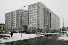Χειμώνας στο κεφάλαιο της περιοχής Pasilaiciai πόλεων της Λιθουανίας Vilnius Στοκ Εικόνες