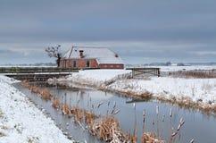 Χειμώνας στο ολλανδικό καλλιεργήσιμο έδαφος Στοκ φωτογραφίες με δικαίωμα ελεύθερης χρήσης