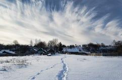 Χειμώνας στο της Λευκορωσίας χωριό Στοκ Εικόνες