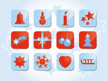 χειμώνας συμβόλων εικονιδίων Χριστουγέννων Στοκ Εικόνα