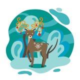Χειμώνας Τα ελάφια και τα δασικά παιδιά κρατούν την απεικόνιση χειμώνας δέντρων χιονιού απεικόνισης Χριστουγέννων απεικόνιση αποθεμάτων