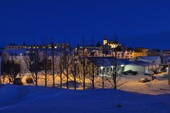 Χειμώνας της Ισλανδίας Borgornes Brakarbraut Στοκ Φωτογραφία