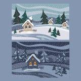 χειμώνας τοπίων σπιτιών απεικόνιση απεικόνιση αποθεμάτων