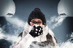 Χειμώνας το καλοκαίρι με τον κλιματισμό στοκ εικόνα