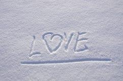 χειμώνας χιονιού αγάπης υλοτομιών έκφρασης έννοιας Στοκ Εικόνες