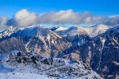 χειμώνας χιονιού βουνών Χιονοδρομικό κέντρο κακό Gasteinl Στοκ Εικόνες