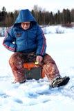 Χειμώνας ψαράδων στη λίμνη Στοκ φωτογραφίες με δικαίωμα ελεύθερης χρήσης