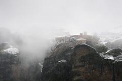 χειμώνας όψης μοναστηριών meteora varlaam Στοκ φωτογραφίες με δικαίωμα ελεύθερης χρήσης