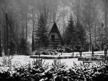 Χειμώνας B&W σπιτιών Στοκ Εικόνες
