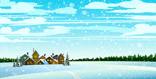Χειμώνας landsckape με το δάσος και τα σπίτια Διανυσματική απεικόνιση