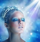 Χειμώνας makeup μιας όμορφης γυναίκας Στοκ Εικόνες