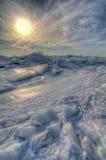Χειμώνας Sunries στη λίμνη Erie Στοκ Εικόνες