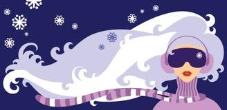 Χειμώνας _wind Girl_and_ Στοκ Εικόνες