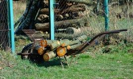 Χειραμάξιο ροδών που σχεδιάζεται για τη μεταφορά του ξύλου στοκ εικόνες