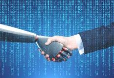 Χειραψία ατόμων και ρομπότ, μπλε Στοκ εικόνες με δικαίωμα ελεύθερης χρήσης