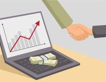 Χειραψία και χρήματα στο lap-top Στοκ εικόνα με δικαίωμα ελεύθερης χρήσης