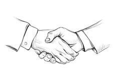 Χειραψία, συρμένη χέρι διανυσματική απεικόνιση σκίτσων Στοκ Φωτογραφία