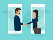 Χειραψία της καλής έννοιας διαπραγμάτευσης συνέταιρων της συμφωνίας, τηλεφωνικό σχέδιο ύφους συνεργασίας επίπεδο διανυσματική απε διανυσματική απεικόνιση