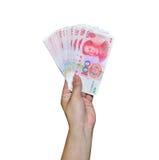 Χειρισμός Yuan ή RMB, κινεζικό νόμισμα Στοκ Φωτογραφίες