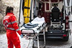 Χειριστής έκτακτης ανάγκης στη δράση Στοκ Φωτογραφίες