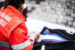Χειριστής έκτακτης ανάγκης στη δράση Στοκ Φωτογραφία