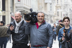 Χειριστής καμερών με τη κάμερα στην οδό Istiklal, Τουρκία Στοκ Φωτογραφίες