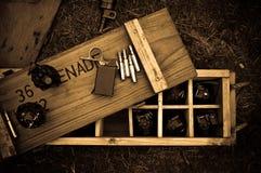 Χειροβομβίδες στο κιβώτιο Στοκ Φωτογραφία