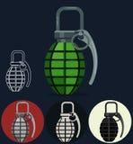 Χειροβομβίδα, χειρωνακτικό όπλο στρατού διανυσματική απεικόνιση
