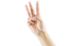 Χειρονομία αριθμός τρία χεριών Στοκ Εικόνες
