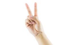 Χειρονομία αριθμός δύο χεριών Στοκ Φωτογραφία