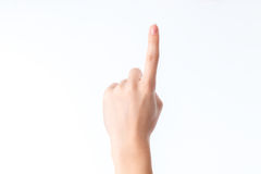 Χειρονομία με αυξημένος επάνω σε ένα δάχτυλο στοκ εικόνα με δικαίωμα ελεύθερης χρήσης