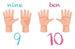 Χειρονομία χεριών αριθμού στο άσπρο υπόβαθρο διανυσματική απεικόνιση