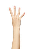 Χειρονομία χεριών τεσσάρων δάχτυλων που απομονώνεται στο άσπρο υπόβαθρο Στοκ Φωτογραφία