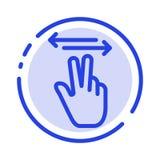 Χειρονομίες, χέρι, κινητός, μπλε εικονίδιο γραμμών διαστιγμένων γραμμών αφής ελεύθερη απεικόνιση δικαιώματος
