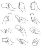 Χειρονομίες χεριών με το διανυσματικό σύνολο καρτών και τηλεφώνων Στοκ εικόνες με δικαίωμα ελεύθερης χρήσης