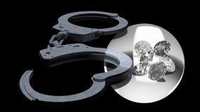 Χειροπέδες και διαμάντια που συμβολίζουν τις ερωτευμένες υποθέσεις κακίας Στοκ Εικόνες